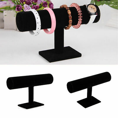 Présentoir Support Velvet Bracelet Collier Montre Bijoux Porte T-Bar Holder Noir