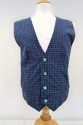 "WAISTCOAT  Green/Blue/White Check   Chest 40""         090 Y"