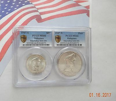 1947-S Philippines 50C & Peso Pair PCGS MS66 New Dual Coin Holder