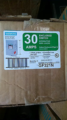 Siemens GF321N 30amp 240v fusible 4wire disconnect switch nema 1 NEW!