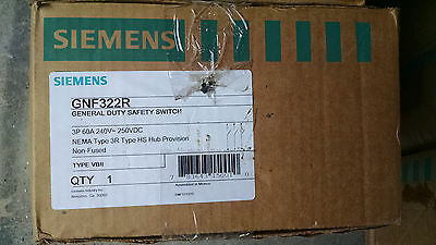 Siemens GNF322R 60amp 240v fusible 4wire disconnect switch nema 3R NEW!