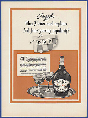 Vintage 1937 PAUL JONES Straight Dry Whiskey Alcohol Bar Restaurant Print Ad