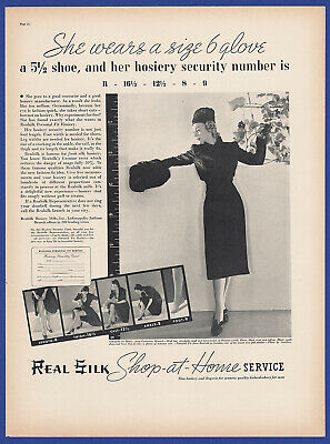 Vintage 1937 REAL SILK Hosiery Women's Fashion Print Ad 1930's