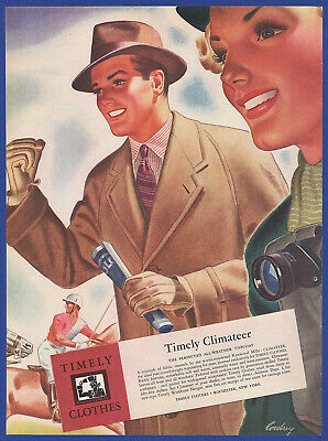 Vintage 1937 TIMELY Climateer All-Weather Topcoat Men's Fashion Print Ad 1930's