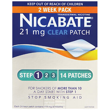 Nicabate CQ Clear 21mg Patches 14 NEW Cincotta Chemist
