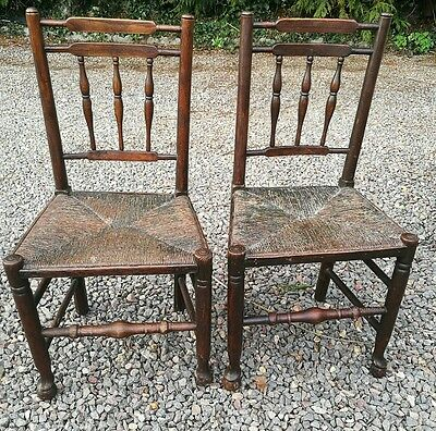 Pair Of 18 Th C Elm Country Chairs With Rush Seats