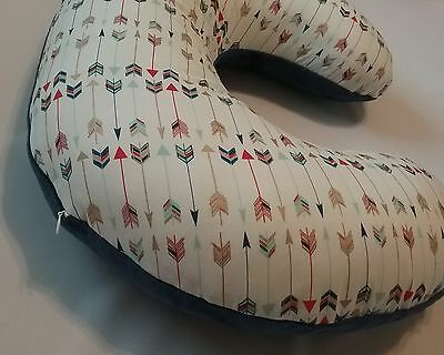 Aztec Tribal Nursing Pillow  Cover, Boppy Cover, smooth navy minky backside