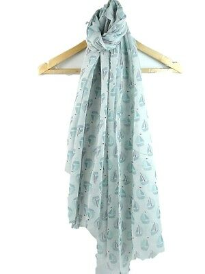 Cream Scarf Ladies Sailing Boat Wrap Sail Boats Shawl Seaside Theme