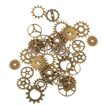 2x 17pcs Vintage Steampunk Gear Wheel Pendants Finding Charm Craft Accessory