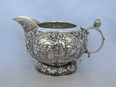 Fantastic Antique Holland Sterling Heavy Repousse Scenic Cream Pitcher