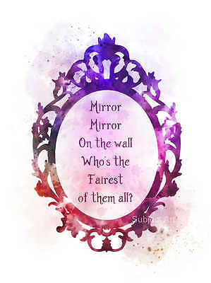 ART PRINT Snow White Quote illustration, Mirror Mirror On The Wall, Wall Art