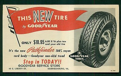 1940's Good Year Tires Advertising Postal Card - Harrisonburg,VA