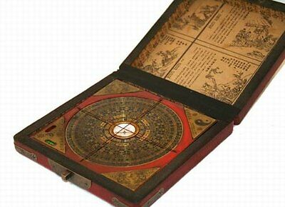 Vintage Feng Shui Luo Pan Chinese Compass W. Case