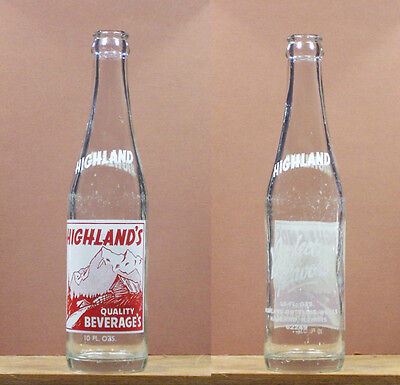 Highlands Quality Beverages Vintage ACL 10 ounce Soda Pop Bottle 62449 Ill 704