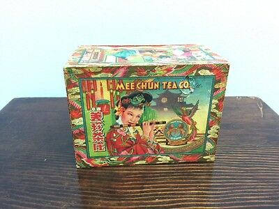 Antique 1930's MEE CHUN TEA CO. Box Jasmine Woman & Phoenix Asian Advertising