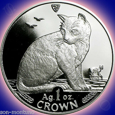 1990 Isle of Man - NEW YORK ALLEY CAT - 1 Oz .999 Silver Proof Coin