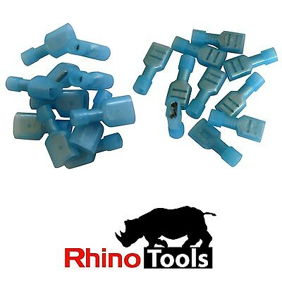 2.5mm Blue Disconnect Crimp lugs 100 Male 100 Female Fully Insulated Terminals