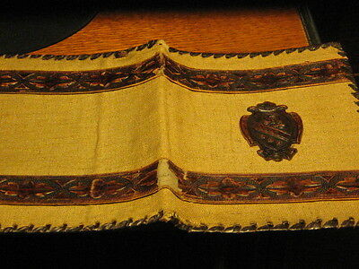 Vintage Book Cover Tan Linen And Brown Embossed Leather Shield Motif Italy