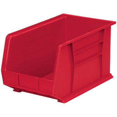 Akro-Mils AkroBin Stack & Hang Bin 10H x 11W x 18D Red  6 pack