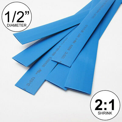 "(4 FEET) 1/2"" Blue Heat Shrink Tubing 2:1 Ratio Wrap inch/foot/ft/to 0.5"" 13mm"