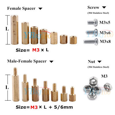 New 100pcs M3 Male Female Brass Standoff Spacer PCB Board Hex Nuts Screws Bolts
