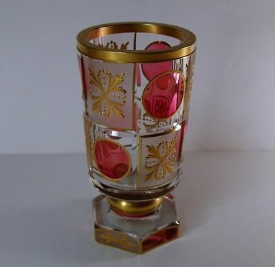 """Antique Bohemian Moser Cranberry & Clear Cut w Heavy Gold Vase 6""""+ Perfect!!"""