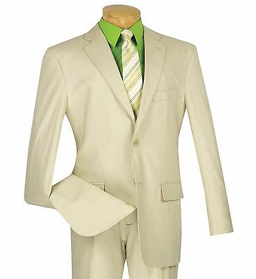 Men's Natural Beige Linen 2 Button Classic Fit Suit NEW Tropical Suit