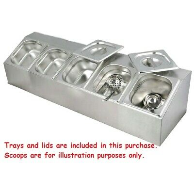 Commercial Stainless Steel Benchtop Bain Marie Gastronorm Condiment Holder 4X1/6