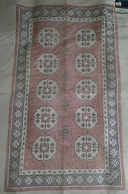 "Vintage LARGE Latch Hook Rug Canvas BOKHARA Oriental Style by Bernat 30"" x 51"""