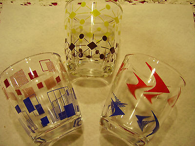 Set of THREE Mid Century Modern Atomic Low Ball Drinking Glasses Barware EXC