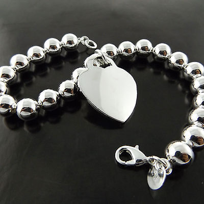 A695 Genuine Real 925 Sterling Silver Sf Ladies Heart Bead Style Bracelet Bangle