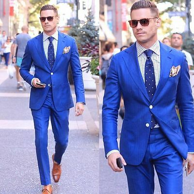 Royal Blue Mens Wedding Suits Groom Tuxedos Best Man Suits Busines Suits Blazer