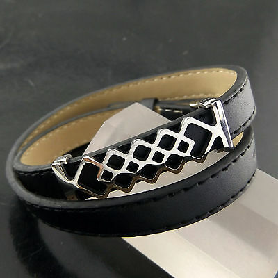 A508 Genuine Real 925 Sterling Silver S/f & Leather Mens Ladies Bracelet Bangle