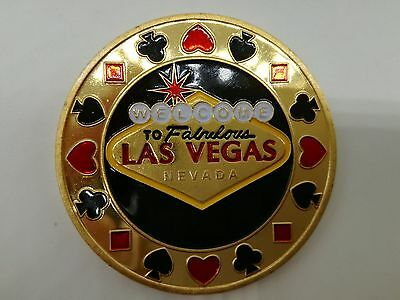 Golden WELCOME TO LAS VEGAS Casino Poker Card Guard Cover Protector