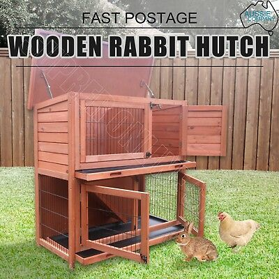 2 Storey Rabbit Hutch Chicken Coop Guinea Pig Ferret Cage Hen House With Tray