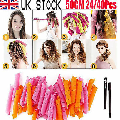 50CM 40Pcs Hair Rollers DIY Curlers Nature Circle Twist Curl Spiral Formers #ABC