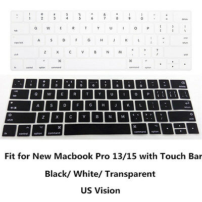 """US Type Soft Gel Keyboard Cover Skin For MacBook Pro 13"""" 15"""" With Touch Bar 2016"""