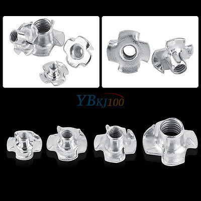 30/50Pcs M3/M4/M5/M6/M8 Four Prong Furniture T Nuts For Woodworking Zinc Plated