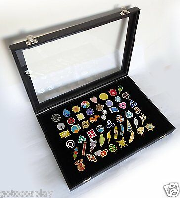 Pokemon Gym Badges with Glass Lid Display Showcase - Set of 50 Lapel Pin Badges