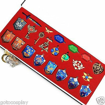 New 22pcs Legend of Zelda Triforce Hylian Shield&Master Sword Keychain/Necklace