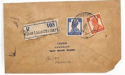BF4 1949 INDIA KGVI Used in NEPAL *Indian Embassy* Registered Etiquette & CDS