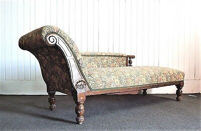 Antique carved oak chaise longue - day sofa - settee