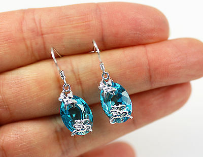 Pretty Solid 925 Sterling Silver & Blue Topaz Dragonfly Drop / Dangle Earrings