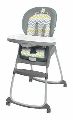 Ingenuity 3 in 1 Deluxe Booster Seat High Chair Ridgedale Green Blue Chevron NEW