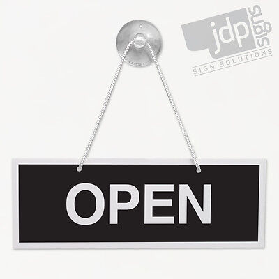 Open And Closed 3Mm Rigid 75Mm X 210Mm Sign, Shop Window Door - 10 Colours