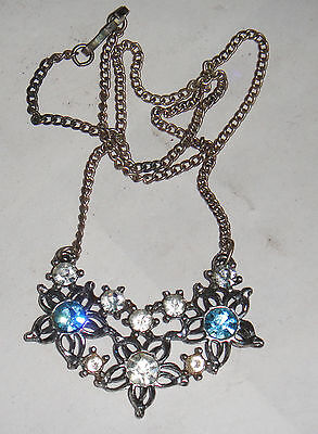 Vintage Antique Lg 800 Silver Diamante Rhinestone Blue Flower Necklace Victorian
