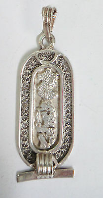 Vintage Antique Solid Silver Filigree Egyptian Revival Cartouche Pendant