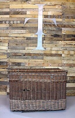 Vintage Antique Mid-Century Industrial Wicker Mill Cart / Log Basket