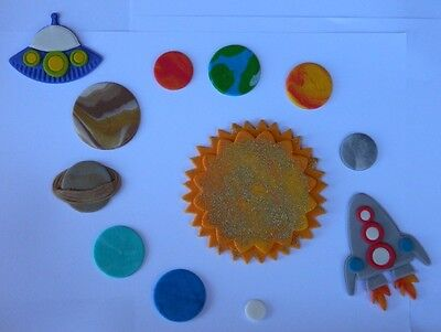 12 edible SOLAR SYSTEM cake CUPCAKE topper DECORATION SPACE rocket UFO planets