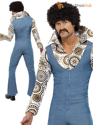 Mens Groovy Hippy Hippie Disco Costume Adult 60s 70s 1970s Fancy Dress Outfit